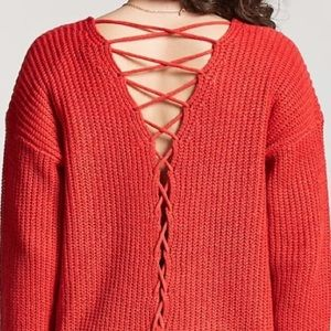 Tie up back sweater